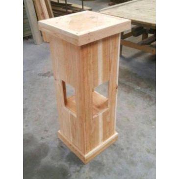Statafel/Zuil 2 stuks douglas/lariks hout blank